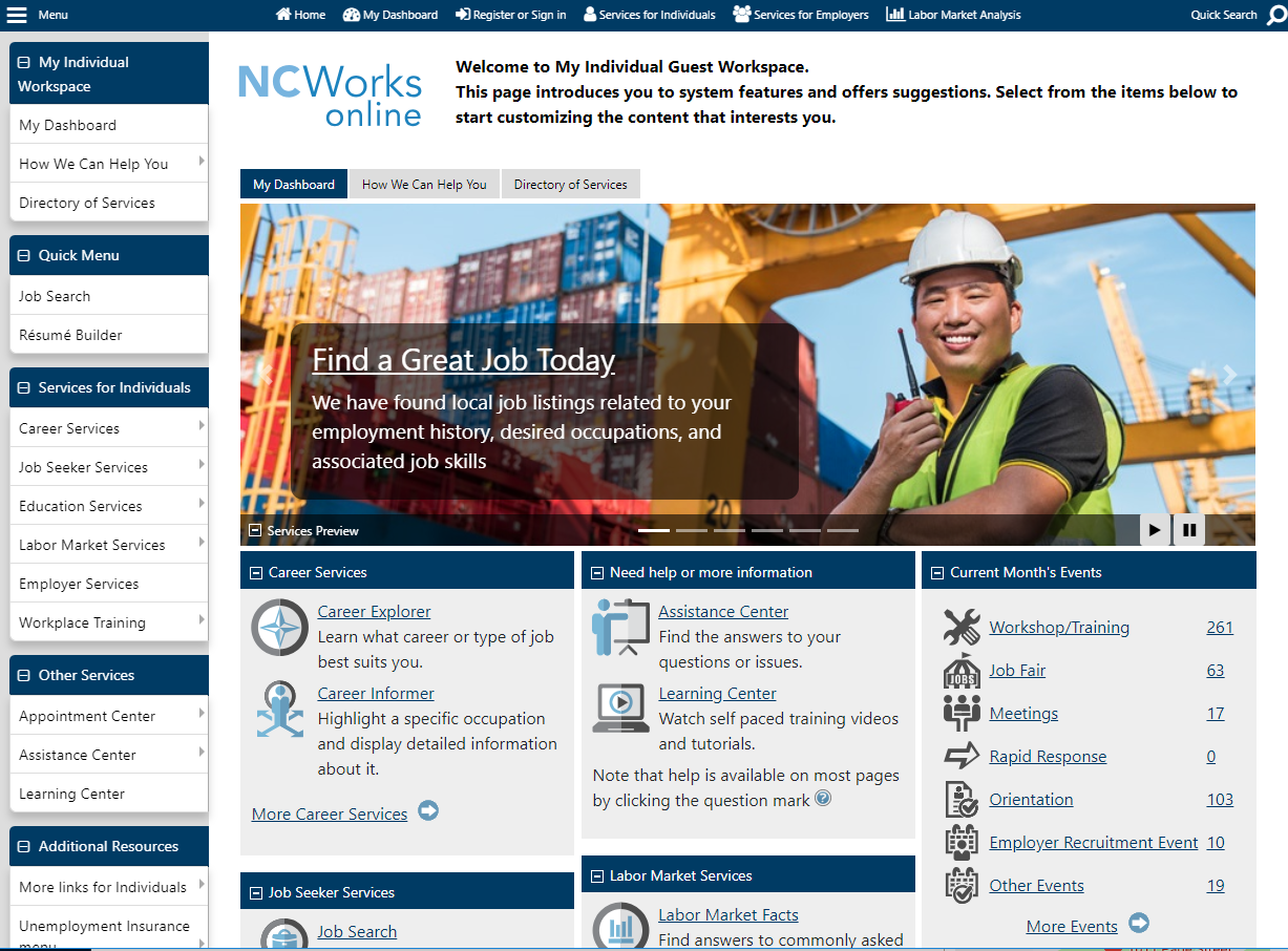 NCWorks Online _ Front page Dashboard