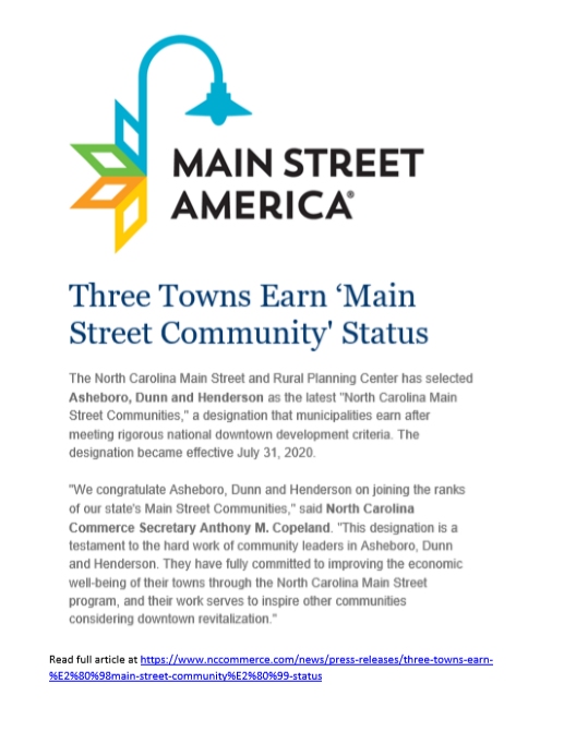 Asheboro Awarded Main Street Community Status